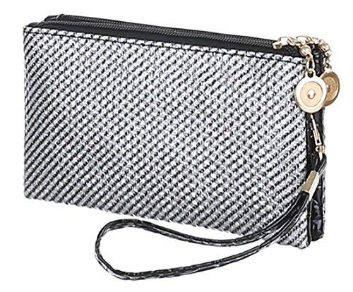 MYWY - Pochette vernice argento nero elegante argentata cm18x3x11 mini pochette argento
