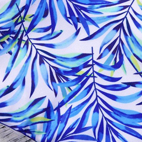 Angelof Maillot de Bain de Sport Bikini Imprimé de Florales Femmes 2 Pieces Maillot Epaule Dénudée Haut de Maillot & String Bleu