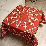 TOYM- Stile Esotico Cotone Lino Tovaglie Soggiorno Tavolino coperto panno spesso quadrato Tovaglia ( dimensioni : 140*140cm )
