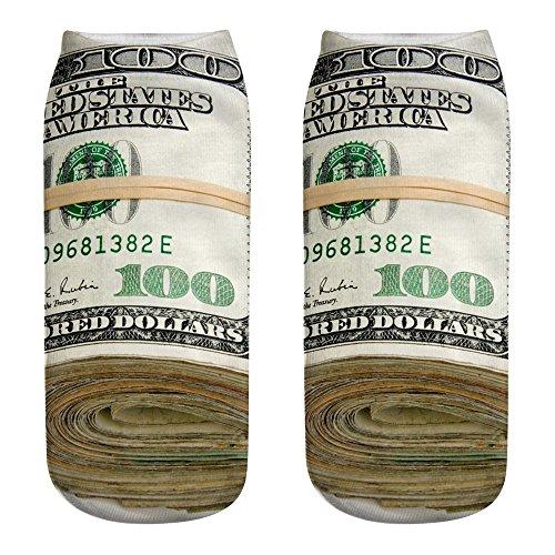 �ufige Arbeits Geschäfts Baumwollsocken Medium Sportsocken des Drucken 3D Meine Dollar Banknoten Muster Druck Socken ()