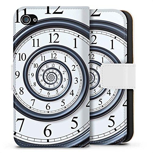 Apple iPhone X Silikon Hülle Case Schutzhülle Zeit Uhr Leben Sideflip Tasche weiß