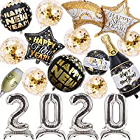 Amycute 17 Pcs New Year Party Decoration, 2020 New Year Eve Party Banner and New Year Eve Hanging Swirls for New Year Photo Booth Props Photo Background (Silver)