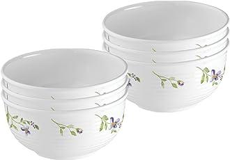 Servewell Flower Glossary Melamine Rio Veg Bowl Set, 10cm, Set of 6, White