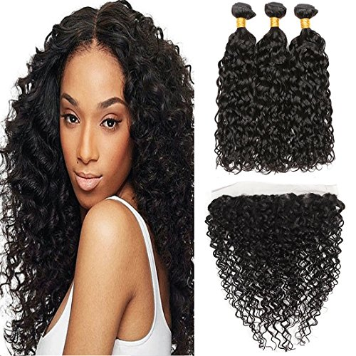 Dai Weier Ear To Ear Lace Frontal Closure 13x4 With Baby Hair Pre Plucked And 300g Water Wave Brazilian Natural Hair Remy 12 14 16 +10 Frontal