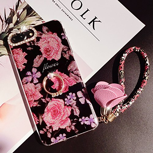 Custodia-iPhone-6S-Cover-Silicone-iPhone-6-JAWSEU-Apple-iPhone-6-6S-Back-Cover-Case-Creativo-Disegno-Moda-Stile-Elegante-Lusso-Fiore-con-Diamante-Brillare-Bling-Custodia-per-Apple-iPhone-6iPhone-6S-Pr