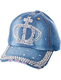 Damen Jeans Basecap mit Strass Baseball Cap Mütze Kappe mit Stern krone