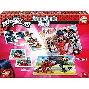 Educa – Superpack Miraculous Ladybug: Domino, Identic y 2 puzzles, juego de mesa para niños, a partir de 3 años (17259)