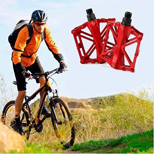 JJOnlineStore-Ein Paar/2PCS Ultralight Aluminium flach Plattform Pedale Fahrrad MTB BMX MOUNTAIN BIKE RACING links rechts Pedale Achse 9\'/16\' zoll, rot