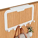 Aerobath Over the Door Hooks Hanger with No Trace Adhesive Paste, Nail-Free Fixing, Heavy-Duty Storage Rack for Coat, Towel, Bag, Robe (White, 6 Hooks)