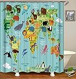 """QCWN Cortina de Ducha con Mapa de Animales, Mapa de Animales del océano para niños y niños con Dibujos Animados de montaña, Imagen de bosques, poliéster, 3, 70"""" L*70"""" W"""