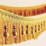 2yards geflochten Perlen hängenden Kugel Quaste Fransen trimmen Applikation Stoff trimmen Band Vorhang Tisch Hochzeit verziert gold