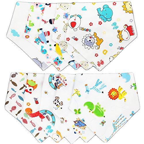 txian Infant bebé y Bandana Drool baberos 100% algodón toalla de saliva Cute dibujos animados patrón baberos paquete de 10