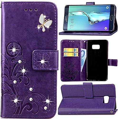 haotp (TM) Beauty Lucky Blumen Luxus Fashion Floral Blau PU Flip Ständer Kreditkarte ID Inhaber Wallet Leder Case Cover für iPhone 4/4S 5/5S SE 6/6S Plus - Floral Wallet