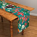SEJ by Nisha Gupta Floral HD Digital Premium 13 by 48 inches Table Runner (Green)