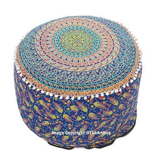 Die Kunst Box rund Mandala Baumwolle osmanischen Pouf Cover ethnischen indischen Fußhocker Pouf...