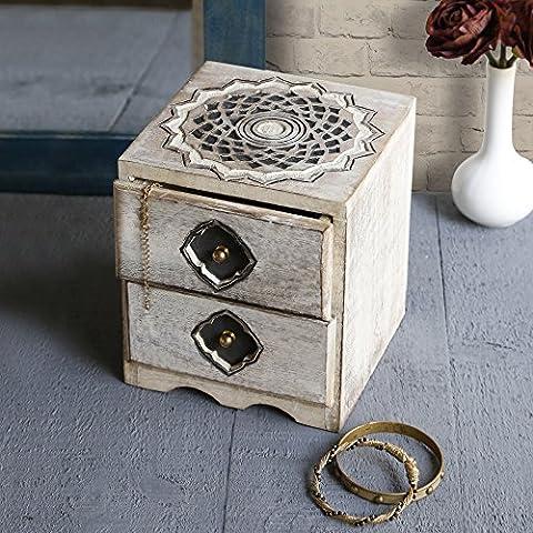 Store Indya Wooden Chest of 2 Drawers Small Keepsake Jewellery Makeup Holder Storage Organiser Multipurpose Box - Home Furniture