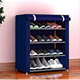 Sasimo Multipurpose Portable Folding Shoes Rack 4 Tiers Multi-Purpose Shoe Storage Organizer Cabinet Tower with Iron and…