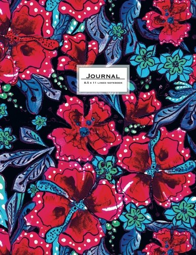 Lined Journal (Diary, Notebook) 8.5 x 11 - Pink, Blue, Black Flower Art: Night In Tropical Forest