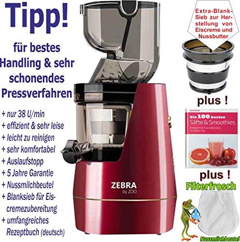 Zebra Whole Slow Juicer by Zoo - weinrot/Entsafter/Saftpresse/Gesundheit