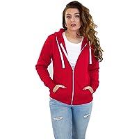 True Face Ladies Hoodie Zip Up Plain Womens Sweatshirt Fleece Full Zipper Hooded Long Sleeve Zipped Top