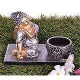 Pindia Relaxing Buddha Figurine Tea Light Holder With Rectangular Tray (13*8*9 Cms, Silver)