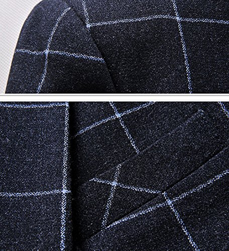 Ouye Premium à carreaux Vestes de Costume Blazer Homme Bleu