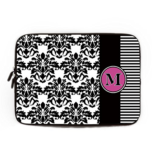 Black and White Flower Computer Sleeve for Macbook Air 10 Inch Monogram Laptop Sleeve Damask Floral Computer Case Netbook Envelope Cover Sleeve for HP Tablet Acer Laptop Case (Den In Tablet-cover 10 Hp)