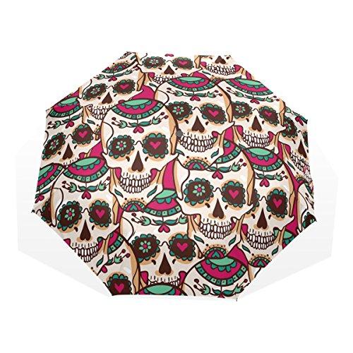 GUKENQ - Paraguas de Viaje con diseño de Calaveras de azúcar, Ligero, Anti Rayos UV, para Hombre, Mujer, niños, Resistente al Viento, Plegable, Paraguas Compacto
