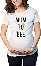 YaYa Cafe Mothers Day Cute Mum to Bee Women's Pregnancy Maternity T-shirt Top Tee Round Neck Half Sleeves