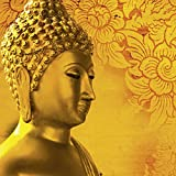 Artland Qualitätsbilder I Glasbilder Deko Glas Bilder 30 x 30 cm Fantasy Mythologie Religion Buddhismus Foto Rot A7RK Buddha Goldstatue Thailand