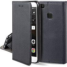 Cover Huawei P9 Lite Nero - Custodia a libro Flip Smart magnetica de Moozy® con funzione di appoggio e supporto in silicone