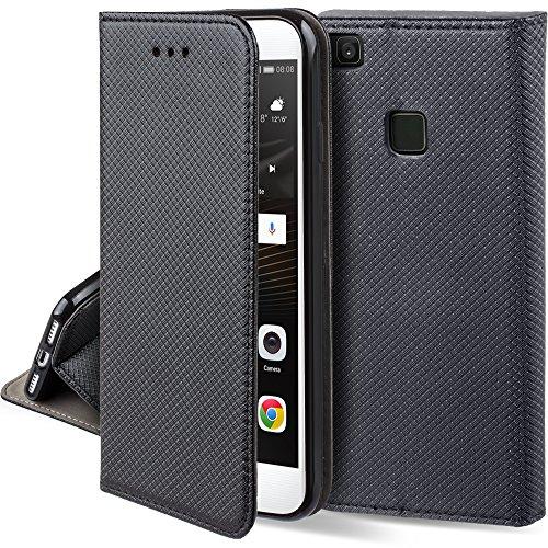 Moozy Hülle Flip Case für Huawei P9 Lite, Schwarz - Dünne Magnetische Klapphülle Handyhülle mit Standfunktion