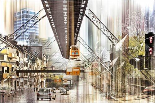 Leinwandbild 120 x 80 cm: Wuppertal Collage von Städtecollagen - fertiges Wandbild, Bild auf...