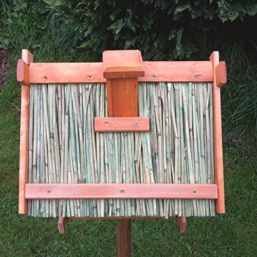 Vogelhaus Schilfdach Reetdach Massivholz Schreinerarbeit Futterhaus Vogelhäuschen –Wetterschutz– K2 - 2