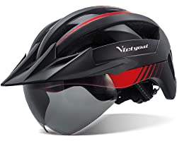 Victgoal Bike Helmet with USB Rechargeable LED Light Removable Magnetic Goggles Visor Breathable MTB Mountain Bicycle Helmet