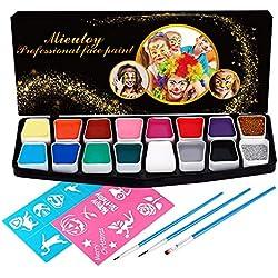 Mieutoy Pintura Cara Niños 16 Colores Maquillajes Disfraces Infantil Facial con Pegatina Fluorescente Pintura Halloween Lápiz de Pintar Regalos para Fiestas Carnaval