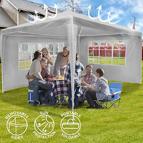 MIADOMODO Festzelt Pavillon - Inkl. 4 Seitenwände, LxBxH: ca. 4x3 x2,5 m, Wasserdicht, In Weiß - Gartenpavillon, Partyzelt, Gartenzelt, Eventpavillon