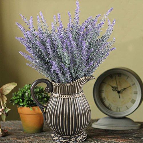 + WINOMO 4pcs artificiale floccato lavanda mazzo viola fiori nuziali casa giardino fai da te ufficio decorazione di nozze lista dei prezzi