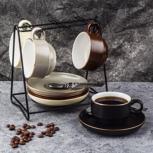TBSB Besteck Keramik Kaffee Kaffeeservice Austragsrechen einfache Cappuccinocup mit Saucer 145ml,...