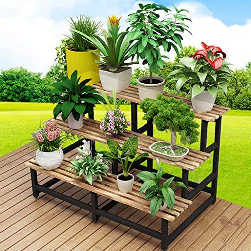 Indoor Dreistufiger Blumenständer, Stufenboden-Blumentopfhalter, Schmiedeeisen-Holzdekoration - Hochglanz Schwarz Glas