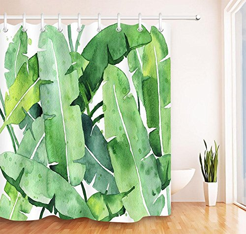 MEILI Tropische Palme große Blatt gedruckt Polyester Duschvorhang , 1 , - Duschvorhänge Palme