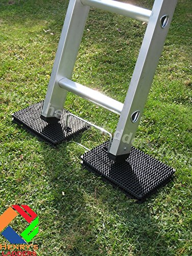 Henry's Anti-Slip Ladder Leveller - Four mats, made from heavy-duty rubber matting with nodules, are linked by a sturdy metal loop and offer adjustable anti-slip blocking to go under the ladder foot.