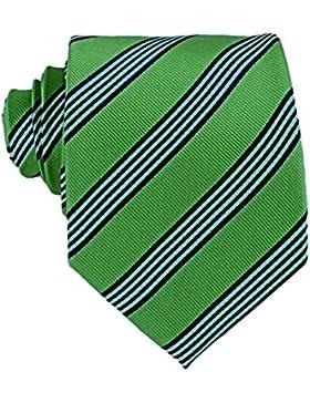 MONETTI Corbata de 100% seda verde - azul a rayas - en la caja de regalo!