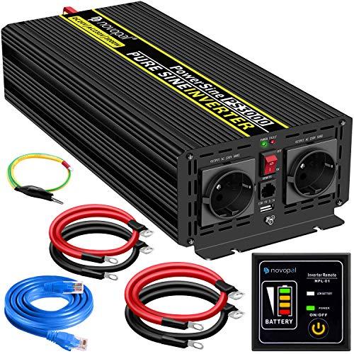 3000W KFZ Reiner Sinus Spannungswandler - Auto Wechselrichter 24V auf 230V Umwandler - Inverter Konverter mit 2 EU Steckdose und USB-Port - inkl. 5 Meter Fernsteuerung - Spitzenleistung 6000 Watt