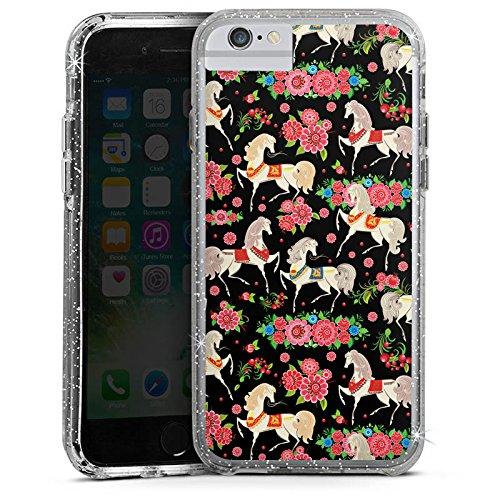 Apple iPhone 7 Bumper Hülle Bumper Case Glitzer Hülle Pferde Horses Flowers Bumper Case Glitzer silber