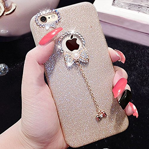 Cover per iPhone 7 Plus/iPhone 8 Plus, EUWLY Sparkling Glitter Silicone Custodia per iPhone 7 Plus/iPhone 8 Plus Creativo Disegno Bling Brillante Diamante con Bello Ciondolo Protettiva TPU Custodia Co Glitter Oro