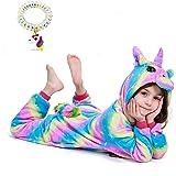 EuHigh Niños Pijama de Unicornio Suave Franela Uno Trozo Animal Disfraz Muchachas Regalo Cosplay Víspera de Carnaval Loungewe
