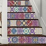 3D Treppenaufkleber Arabischen Stil Bunte Fliesen Kreative Haustreppe Dekoration 6 Stücke (39 4 Zoll × 7 Zoll)