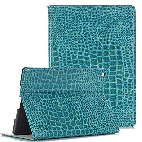Mini 4 Case 7.9'' iPad mini 4 Etui, TechCode Luxus Krokodil Haut Muster PU Leder Bookstyle Folio Case Cover Stand mit Auto aufwachen / Schlaf Funktion Smart Case Geldbörse Ledertasche Hülle Case Schutzhülle Etui für Apple iPad mini 4 7,9 Zoll (iPad mini4, Himmelblau)