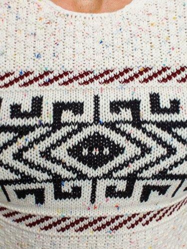 OZONEE Herren Strickjacke Pullover Strickpullover Sweats Strick BLACK ROCK 18001 Ecru_MAD-1558